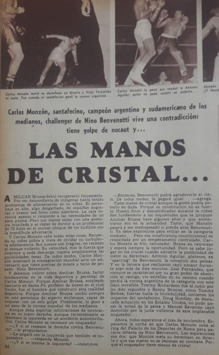 Curiosa mirada de la revista Goles, poco antes del combate; casi nadie confiaba en las posibilidades de Carlos Monzón, de quien decía que tenía puños de cristal