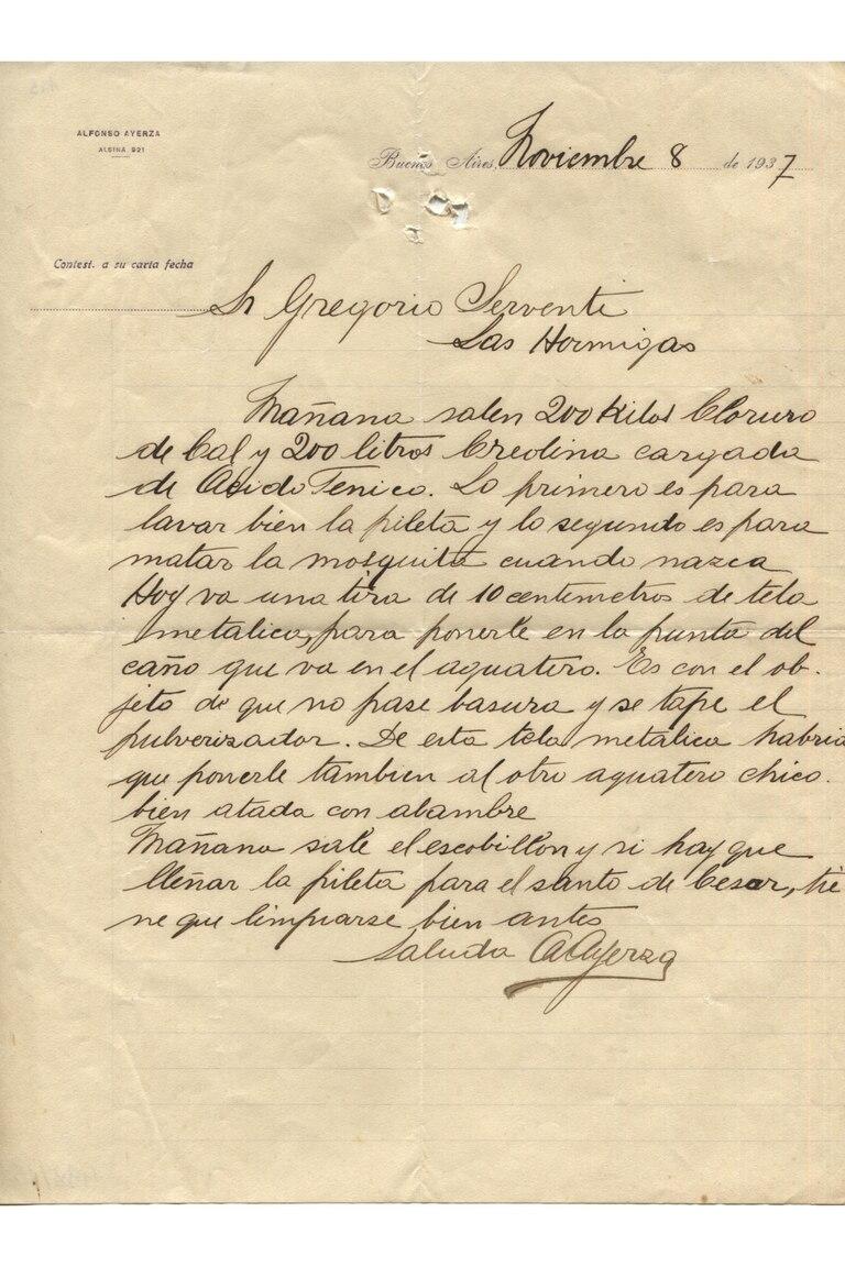 Carta de Alfonso Ayerza para Gregorio Serventi, con detalles sobre cómo proceder para el cuidado de los jardines