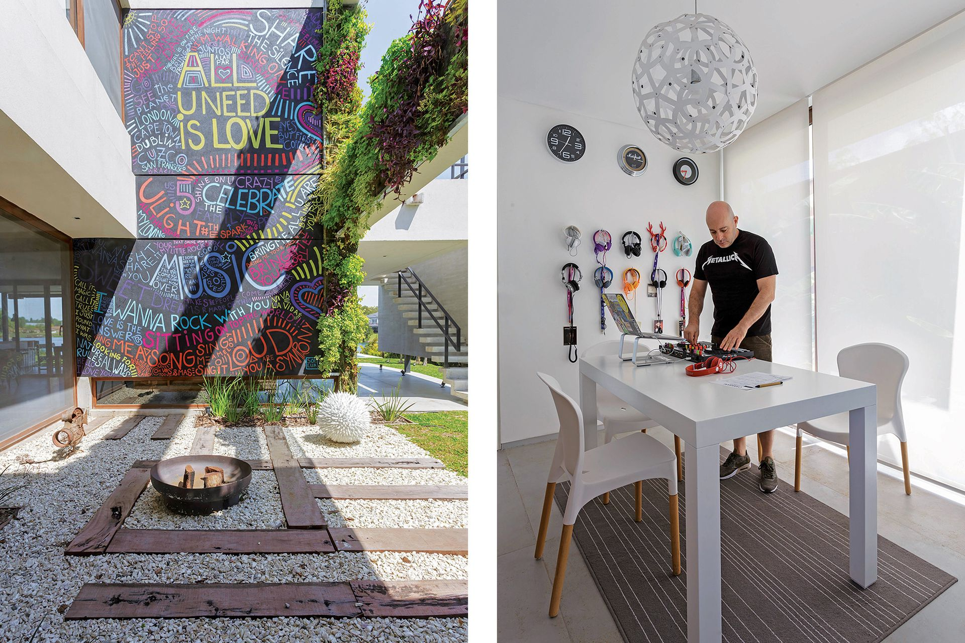 Tapizada por un sistema de jardín vertical (Vivero La Magnolia), la viga del patio 'cose' los dos volúmenes de la casa.