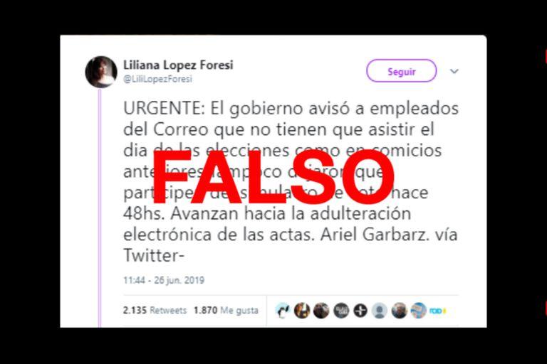 La periodista Liliana López Foresi retuiteó la información errónea
