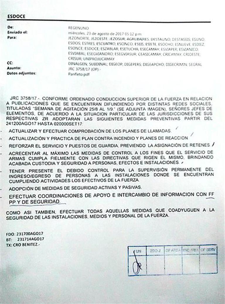 La orden para Gendarmería
