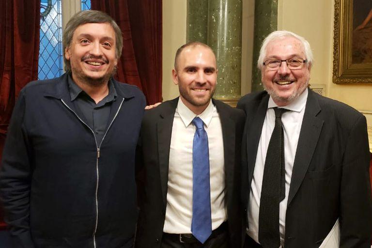 El cordobés Fernández, con Máximo Kirchner y Martín Guzmán