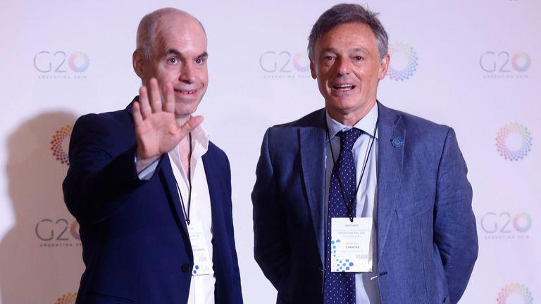Horacio Rodríguez Larreta, jefe de Gobierno de la ciudad de Buenos Aires, junto al ministro de Producción, Francisco Cabrera