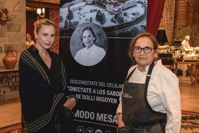 Julieta junto a la chef Dolli Irigoyen, en el hotel Llao Llao de Bariloche
