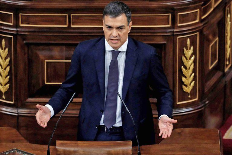 El socialista Pedro Sánchez durante su discurso
