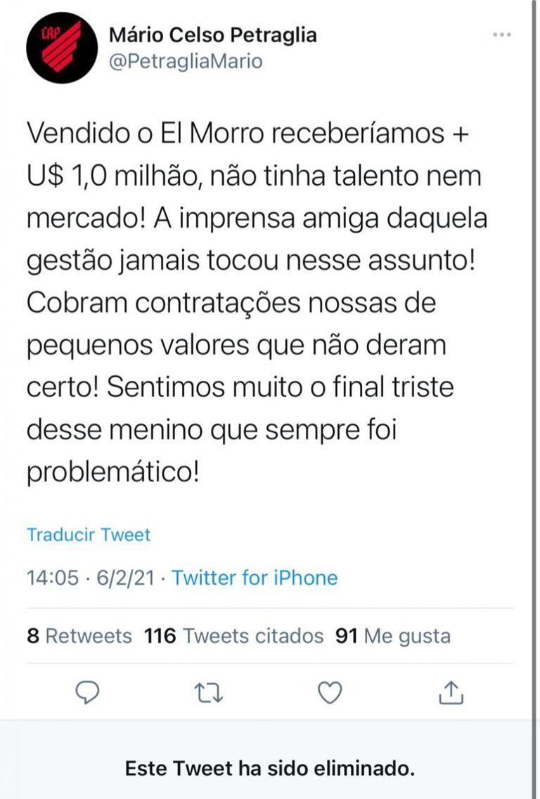 Los tweets que el presidente de Atletico Paranaense debió borrar tras recordar a Morro García